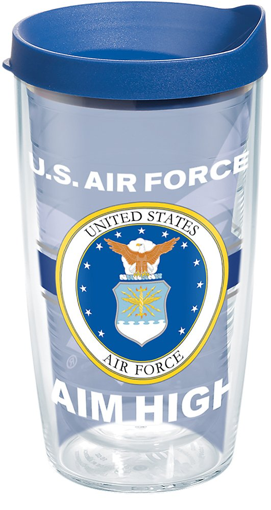Tervis 1286934 Air Force Pride Tumbler with Wrap and Blue Lid 16oz, Clear