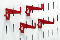 Wall Control Pegboard 2-7/8in Long Reach Slotted Hook Pack - Slotted Metal Pegboard Hooks for Wall Control Pegboard and Slotted Tool Board – Red