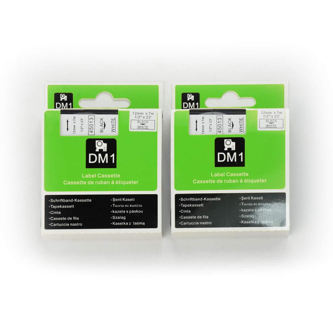 """DYMO D1 45013 Label Tape, LaBold 2 Pack Black on White Label Tape Cartridge Compatible for DYMO Standard D1 45013 Label Manager 1/2"""" x 23' (12mm x 7m)"""