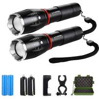 Lyhope 2 Pack High Lumen Flashlight, Zoomable, 5 Modes, Waterproof Led Handheld Flashlight, Rechargeable Battery & Charger & Bicycle Mount Included