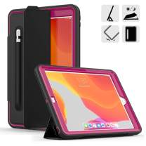 DUNNO New 10.2 Case 2019, Hybrid Leather Three Layer Heavy Duty Smart Cover with Auto Sleep/Wake Pencil Holder Stand Feature Design for iPad 7th Gen 10.2 Inch 2019 (Black/Rose)