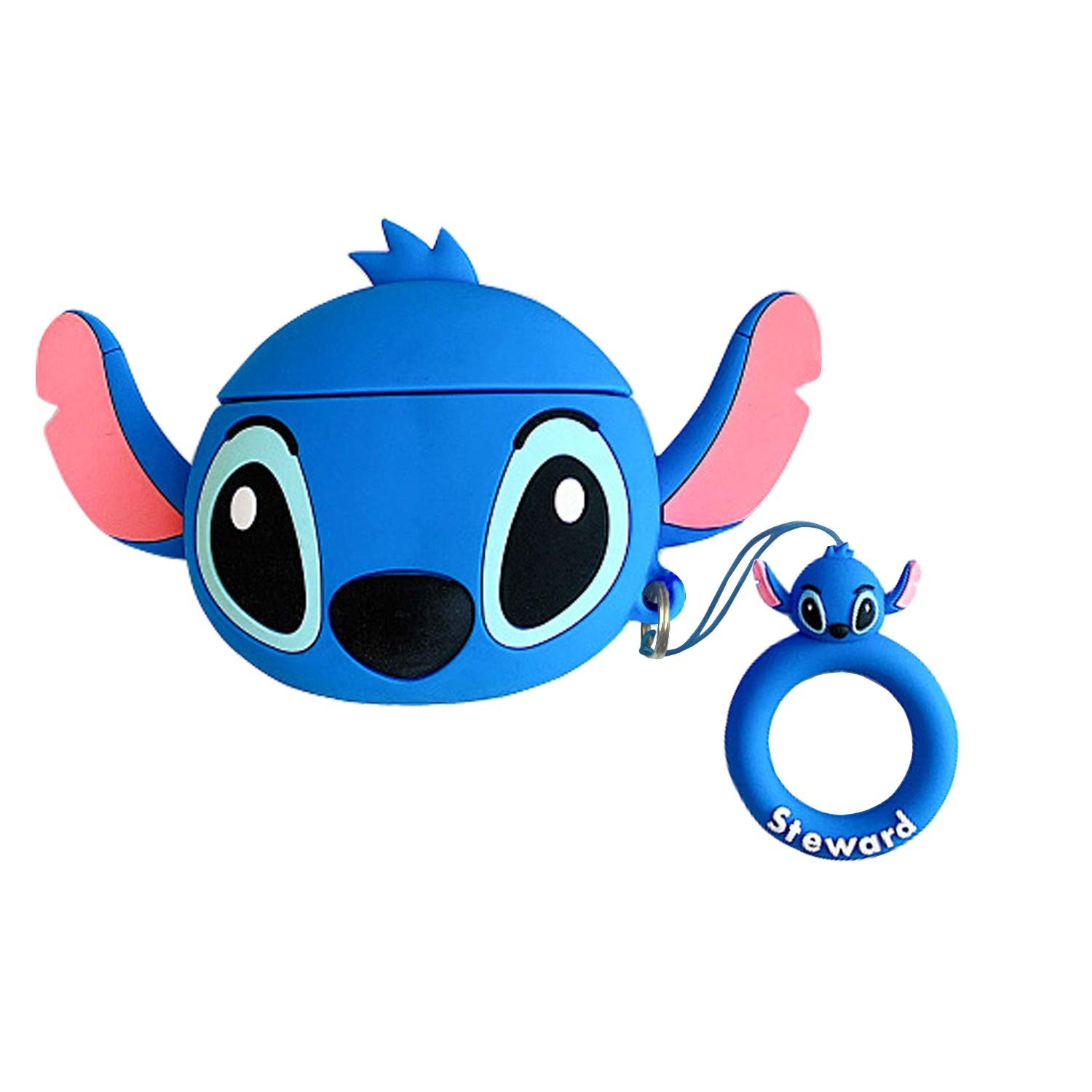LitoDream Compatible with Airpods 1&2 Case,Cute Cartoon Character Stitch Silicone Air pod Funny Cover Kawaii Fun Keychain Skin Fashion Cases for Daughter Girls Kids Airpods (Blue)