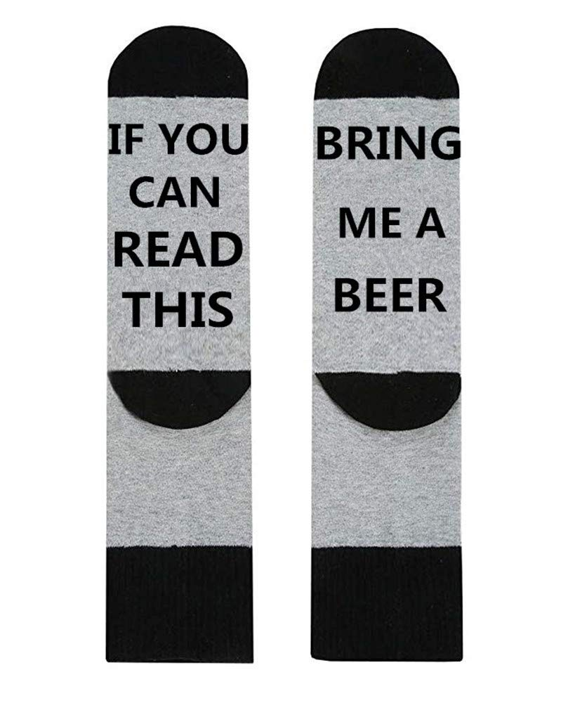 IRISGOD Novelty-Fun-Crazy-Socks for Men and Women If You Can Read This Wine Beer Hosiery