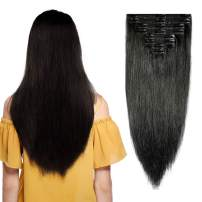"""Double Weft 100% Remy Human Hair Clip in Extensions 10''-22'' Grade 7A Quality Full Head Thick Thickened Long Soft Silky Straight 8pcs 18clips Off Black (24"""" / 24 inch 170g,#1 Jet Black)"""