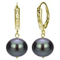 14k Yellow Gold 12-12.5mm Freshwater Cultured High Luster Pearl Design Lever-back Earrings