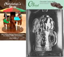 """Cybrtrayd Bk-D028 5-Cent Beer Mug Chocolate Candy Mold with Chocolatier's Guide Instructions Book Manual, 7-1/2""""x 5-1/5"""" x 1-1/8"""" deep, Clear"""