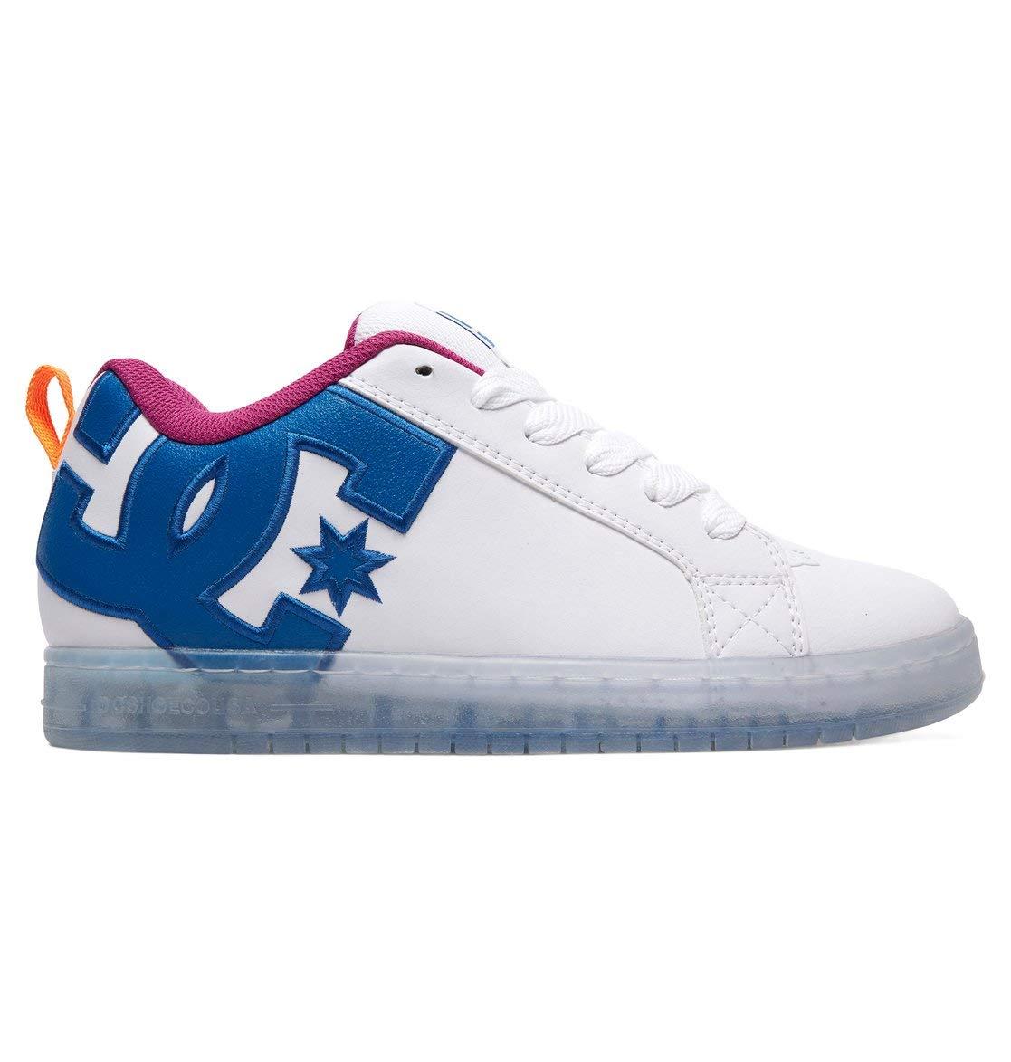 DC Men's Court Graffik SE Skate Shoe, White/Black/Cyan, 12 M US