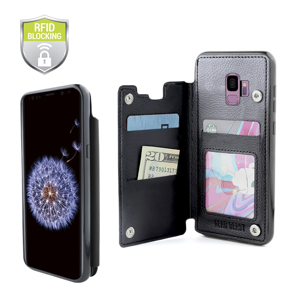 Gear Beast Lychee PU Leather Protective Top View Slim Wallet Case Fits Galaxy S9 Includes Flip Folio Cover, with Three Card Slots Including Transparent ID Holder