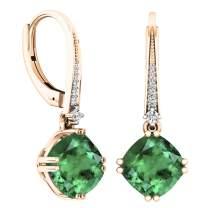 Dazzlingrock Collection 14K 8 MM Each Cushion Cut Lab Created Gemstone & Round Cut White Diamond Drop Earrings, Rose Gold