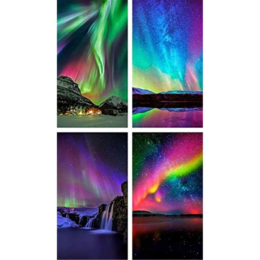 Diamond Painting Kits for Adults Kids,4 Pack 5D DIY Aurora Diamond Art Accessories with Round Full Drill for Home Wall Decor - 11.8×15.7Inches