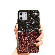 """HUIYCUU Compatible with iPhone 11 Case 6.1"""", Cute Clear Slim Girl Women Glitter Design Shiny Sparkle Shockproof Soft Bumper + Hard Cover Case for iPhone 11 XI,Colorful Bling Rose Red"""