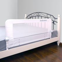 KOOLDOO 51 Inches Baby Bed Rail Fold Down Safety Bed Guard for Toddlers with NBR Foam Include 1pcs Safety Strap (White)