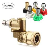 OneBom Pressure Wash Tip Set 2.5GPM, 4500PSI Quick Connect Swivel Coupler, Multiple Degrees Washer Spray Nozzle Tips,1/4'', 2.5 Orifice Size (6 in 1 Kit)