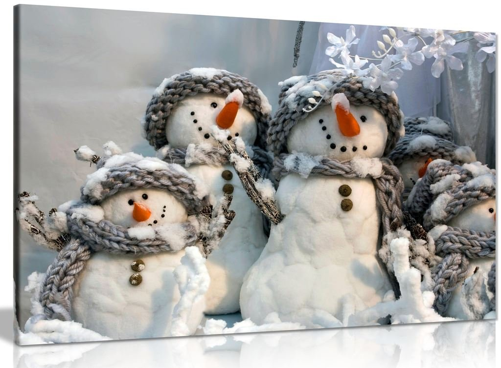 Family of Snowmen Christmas Winter Canvas Wall Art Picture Print (30x20in)