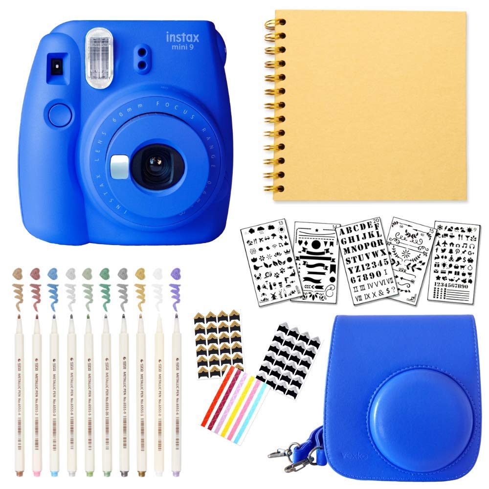 Fujifilm Instax Mini 9 Instant Camera (Cobalt Blue) + Bundle with Fuji INSTAX Groovy Camera Case + DIY Scrapbook Photo Album + Scrapbook Supplies + Stencils + Metallic Markers