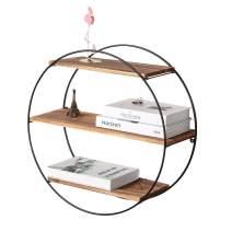 Homode Floating Shelves, 3 Tier Geometric Round Wall Shelves Decorative Wood and Metal Hanging Shelf, Rustic Farmhouse Decor