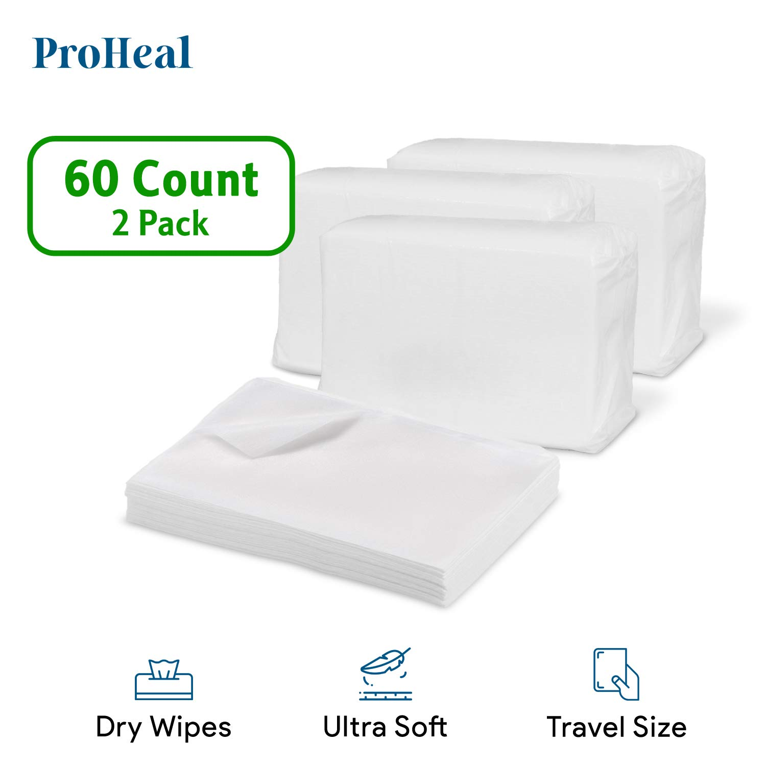 """Disposable Dry Wipes for Baby and Adults, 60 Count (2 Pack) - Ultra Soft Cotton Tissue Washcloths - 7"""" x 13"""" Travel Size - Non-Moistened Cleansing Cloths for Incontinence, Body and Face - ProHeal"""