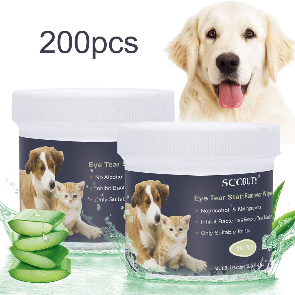 SCOBUTY Pet Eye Wipes,Pet Wipes,Pet Tear Wipes,Natural Tear Eye Stain Remover Pads for Pets, Cleansing Eye Wipes, Pet Soft Grooming Wipes 200 Pads