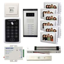 """7"""" LCD Monitor Wired Video Door Phone Kits, 6 Units Monitor & 1 Unit Camera Apartment Video Doorbell +Password Controller+600lbs Magnetic Lock+Power Supply+Exit Button"""