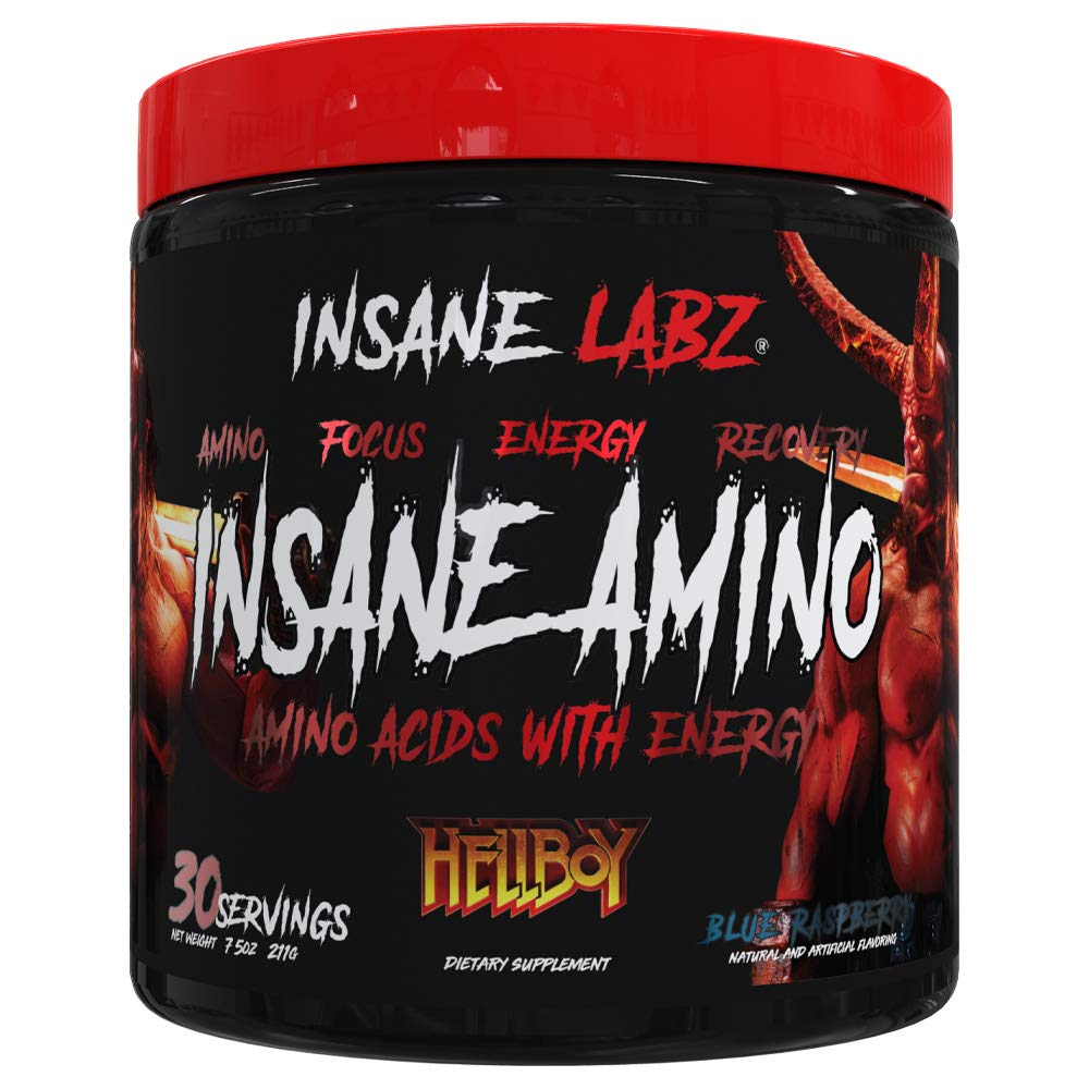 Insane Labz Insane Amino Hellboy Edition, BCAA with Energy Focus Muscle Recovery, Intra Workout Powder, 2 1 1 Branched Chain Amino Acid Powder, 30 Srvgs, Blue Raspberry