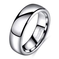 Shuremaster 2mm 4mm 6mm 8mm Tungsten Wedding Band Ring for Men Women Gold/Rose Gold/Silver Domed High Polish Comfort Fit 4-15