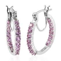 925 Sterling Silver Platinum Plated Inside Out Hoops Hoop Earrings (Blue Tanzanite/Apatite/Amethyst/Created Sapphire)