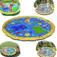 YAVOCOS Splash Water Play Mat, Direct Sprinkle and Splash Play Mat PVC 39in-Diameter Water Spray Toy Kids Baby Pool Pad Summer Fun Beach Outdoor Toy