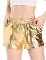 Women's Metallic Shorts Sparkly Shiny Sexy Hot Rave Pants Elastic Waist Outfit
