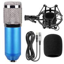 BM-800 Professional Cardioid Studio Condenser Microphone Bundle, with Shock Mount and Windproof Cotton for Studio Recording & Broadcasting (Blue)