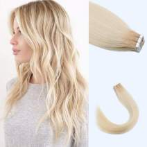 "Lovrio 14"" 20pcs 50g Tape in Human Hair Extensions Roots Color Platinum Ash Blonde Fading to Dark Dirty Blonde R12-60 Adhesive Double Sided Colorful Skin Weft"