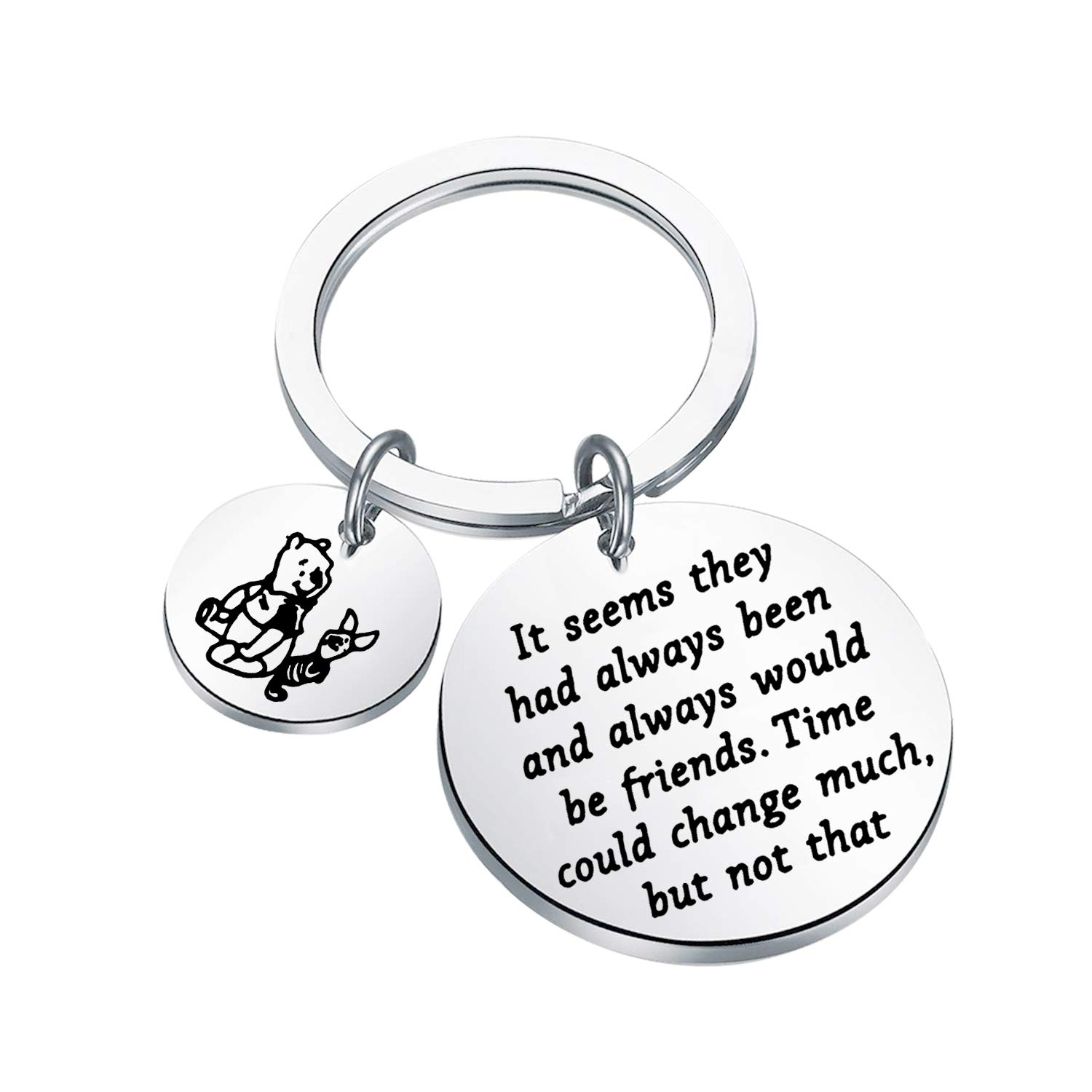 Lywjyb Birdgot Winnie The Pooh Gift Piglet & Winnie The Pooh Gift Friendship Keychain BFF Gift It Seems They Had Always Been and Always Would Be Friends Keychain