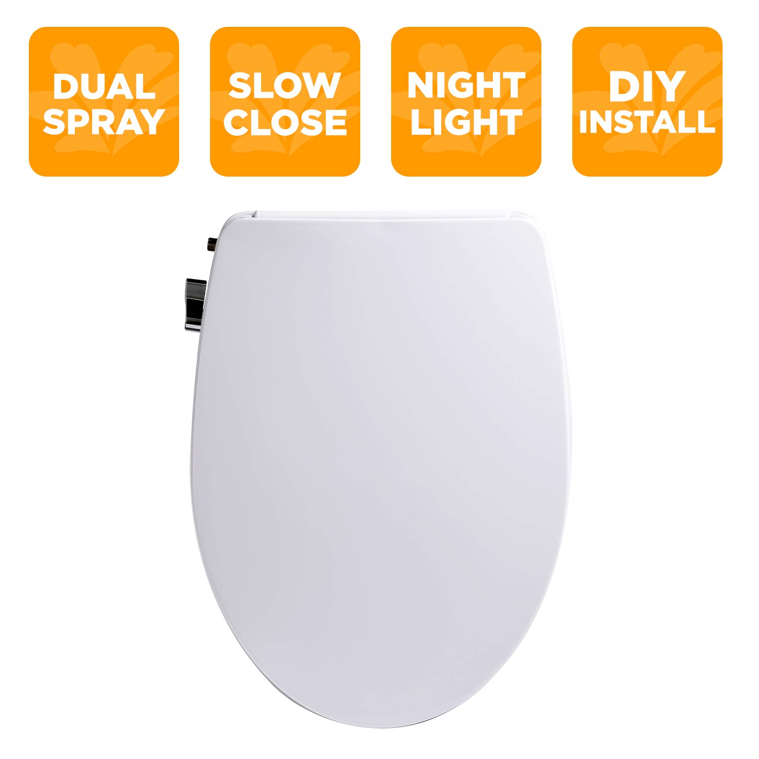 Bio Bidet Slim Zero-Non Electric Bidet Seat for Elongated Toilet, Dual Nozzle, Nightlight, Unified Brass, Inlet and T-Valve-Easy to use Chrome Plated Side Lever DIY Installation, White