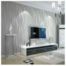 "Primst 20.86"" X 374"" 3D Wave Stripe Wallpaper,Modern Non-Woven DIY Wallpaper Wall Murals Wall Stickers Decorate Furniture Bedroom Living Room (Silver)"