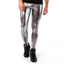 Kapow Men's Leggings Metallic Holographic Wet Look Shiny Glitter Yoga Tights Festival Meggings Lounge Pants