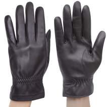 Molemsx Luxury Men's Touchscreen Texting Winter Warm Nappa Leather Dress Driving Gloves