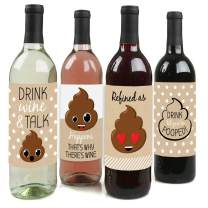 Big Dot of Happiness Party 'Til You're Pooped - Poop Emoji Party Decorations for Women and Men - Wine Bottle Label Stickers - Set of 4