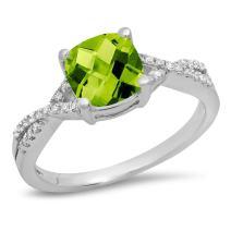 Dazzlingrock Collection 14K 7 MM Cushion Gemstone & Round Diamond Ladies Swirl Split Shank Engagement Ring, White Gold