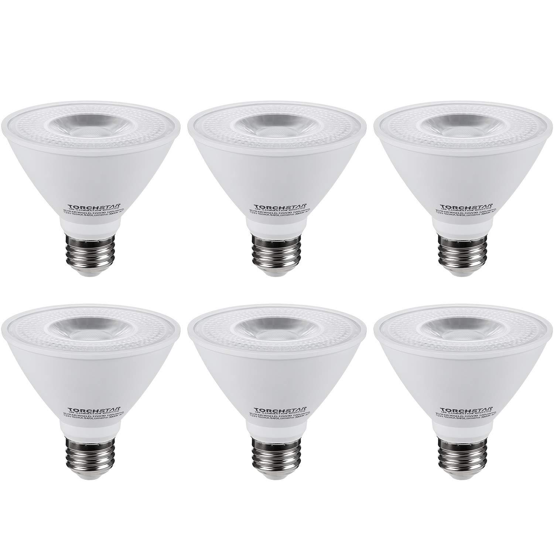 TORCHSTAR PAR30 Short Neck LED Spot Light Bulb, Dimmable, 12W 75W Equiv, High CRI90+, 3000K Warm White, 840Lm, E26 Base, Energy Star & UL Listed LED, 3-Year Warranty, Pack of 6