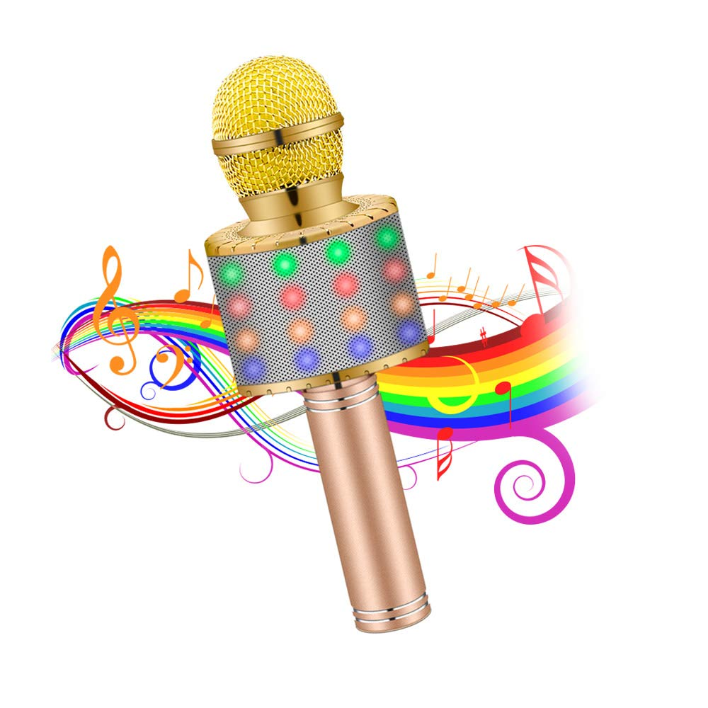 Karaoke Microphones Wireless Bluetooth Portable Handheld kids karaoke machine with Flash LED lights, Aluminum alloy handle, Speaker, Compatible Android/PC and All types of Smart phone(Gold)
