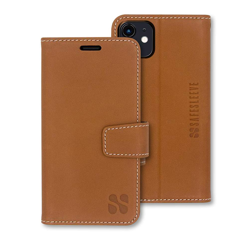 SafeSleeve EMF Protection Anti Radiation iPhone Case: iPhone 11 RFID EMF Blocking Wallet Cell Phone Case (Genuine Leather)