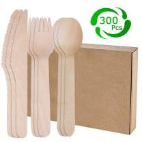 """300Pcs Disposable Wooden Cutlery Sets, Forks, Knives, Spoons, 100% Natural Birchwood, 6"""" Length Eco Friendly & Biodegradable Party Utensils for Camping, BBQ, Birthdays, Picnics"""