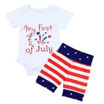 Newborn My First 4th of July Baby Boys Outfits Romper + American Flag Short Pants Independence Day Clothes Set