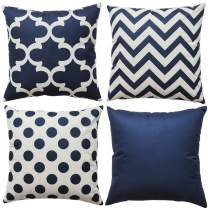 WLNUI Set of 4 Navy Blue Decorative Throw Pillow Covers Square Farmhouse Linen Polka Dot Cushion Cases for Sofa Couch Home Decor 18x18 Inch