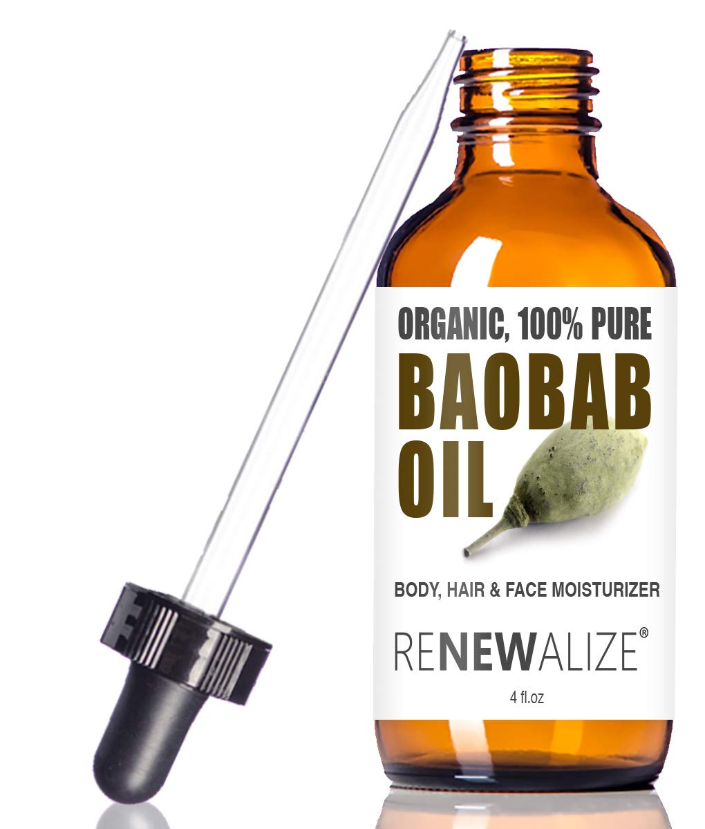 USDA Certified Organic Baobab Oil - in 4 oz Dark Glass Bottle with Dropper   Best Quality 100 Pure Cold Pressed and Unrefined   Essential All Natural Skin Nails and Hot Oil Treatment Hair Moisturizer
