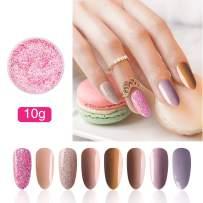 Honey Joy 8pcs/set Fine Dipping Powder Dip Kit Powder Nail Color System, Nude Naked Brown Light Violet Purple, Like Gel Polish Effect, Even & Smooth Finishing (44-08-22-25-129-46-103-71-10g/box)