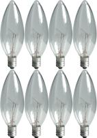 GE Lighting Crystal Clear 76229 60-Watt, 540-Lumen Blunt Tip Light Bulb with Candelabra Base, 8-Pack