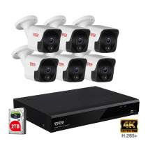 【4K Ultra HD NVR&Audio Recording】 Tonton 8MP Ultra HD PoE NVR Security System,8CH Video NVR with 2TB HDD and 6PCS 5MP Outdoor Waterproof Bullet IP Cameras,True Plug and Play,Heat&Motion Sensing