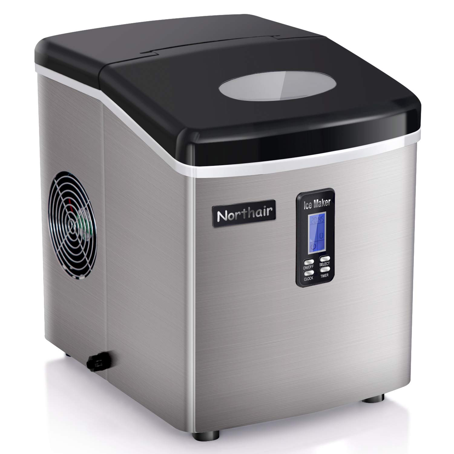 Northair Stainless Steel Ice Maker 35lbs Per Day with Timer, Portable Ice Making Machine Compact, 7-15 Minutes High Efficiently Creates 9 Ices, S-M-L 3 Size Bullet Ice with Ice Scoop, LCD Display
