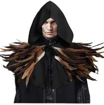 L'VOW Gothic Hooded Short Cloak with Feather Cape Shawls Halloween Cosplay Costume for Men