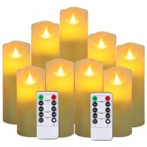 """Flameless Candles,New Style Led Candles Set of 9(H 5"""" 5.5"""" 6"""" 7"""" 8"""" 9"""" xD 2.1"""") Ivory Real Wax Battery Candles (Batteries not Incl) with 2 Remote Timers"""